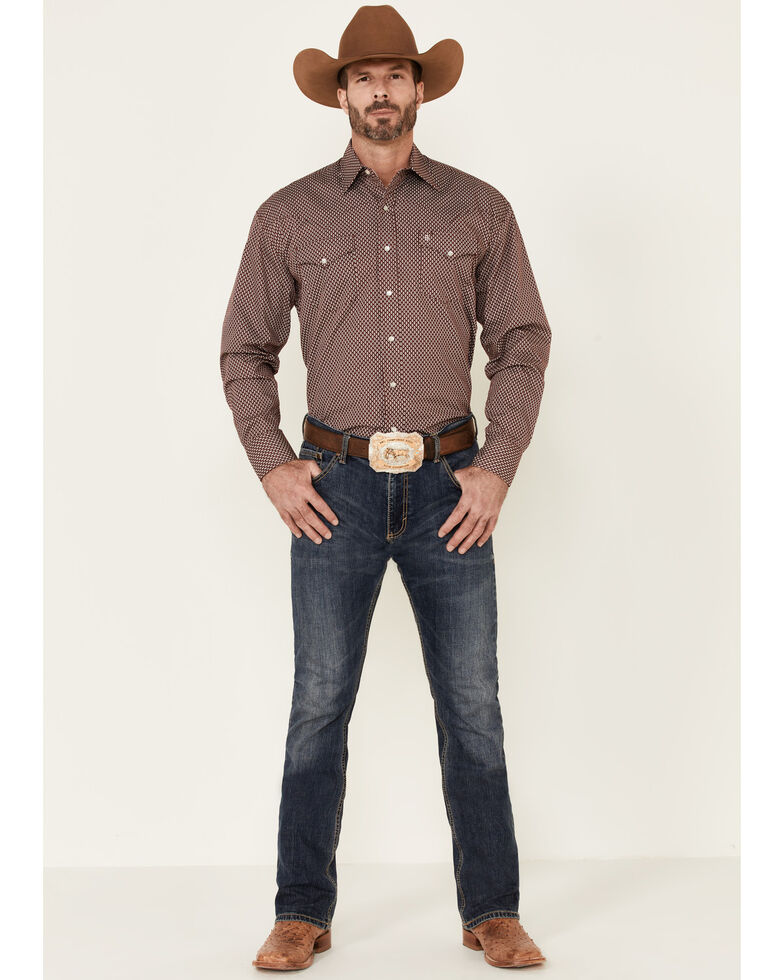 Stetson Men's Red Diamond Geo Print Long Sleeve Snap Western Shirt , Red, hi-res