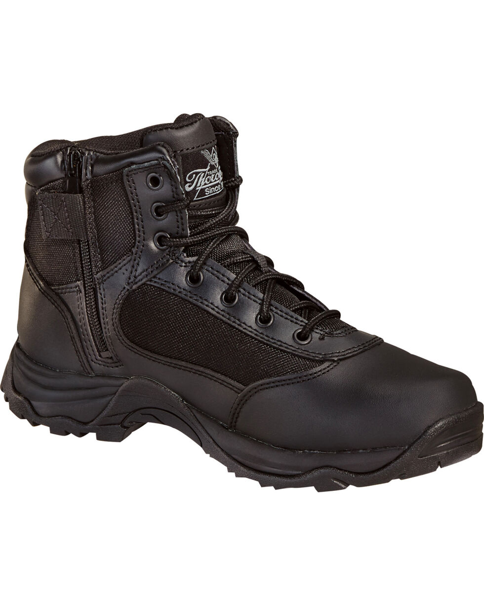 """Thorogood Men's 6"""" Station Side Zip Boots, Black, hi-res"""