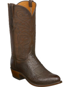 Lucchese Men's Handmade Nathan Smooth Ostrich Leather Western Boots - Round Toe, Dark Brown, hi-res