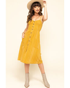 Others Follow Women's Stripe Button Front Chloe Midi Dress, Dark Yellow, hi-res
