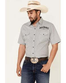 Jack Daniel's Men's White Geo Print Short Sleeve Snap Western Shirt , White, hi-res