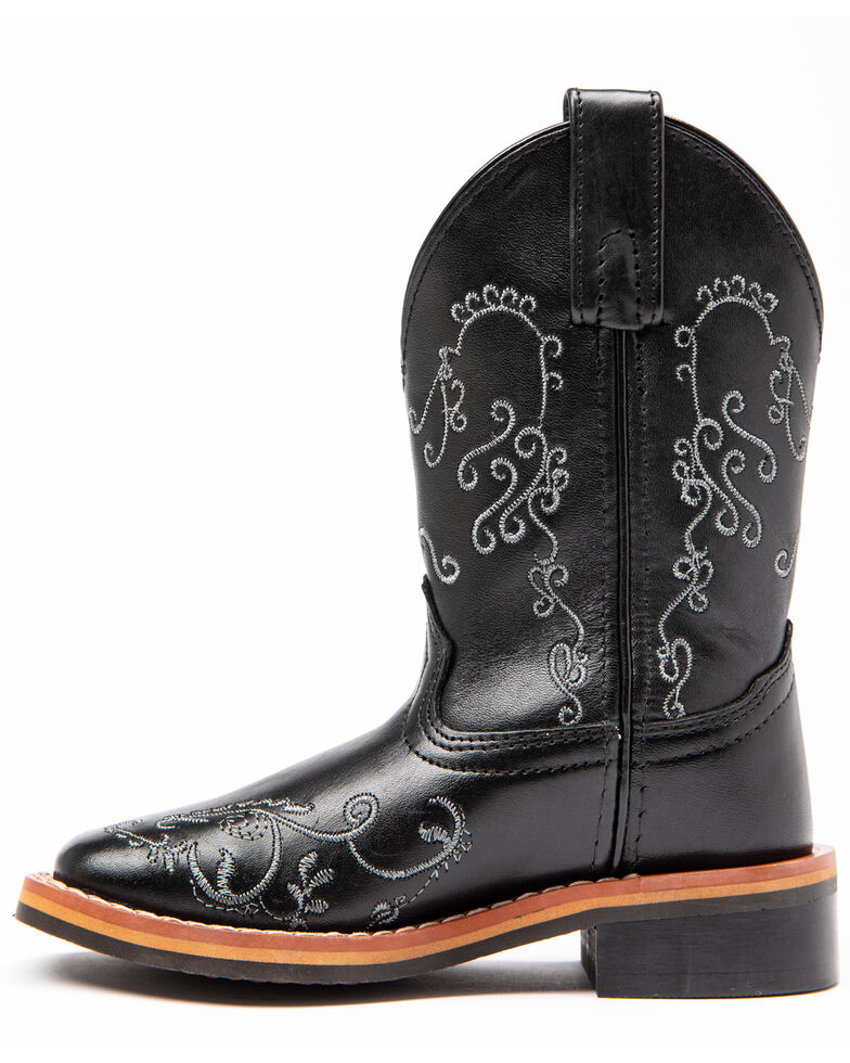 Shyanne Girls' Black Floral Western Boots - Square Toe, Black, hi-res