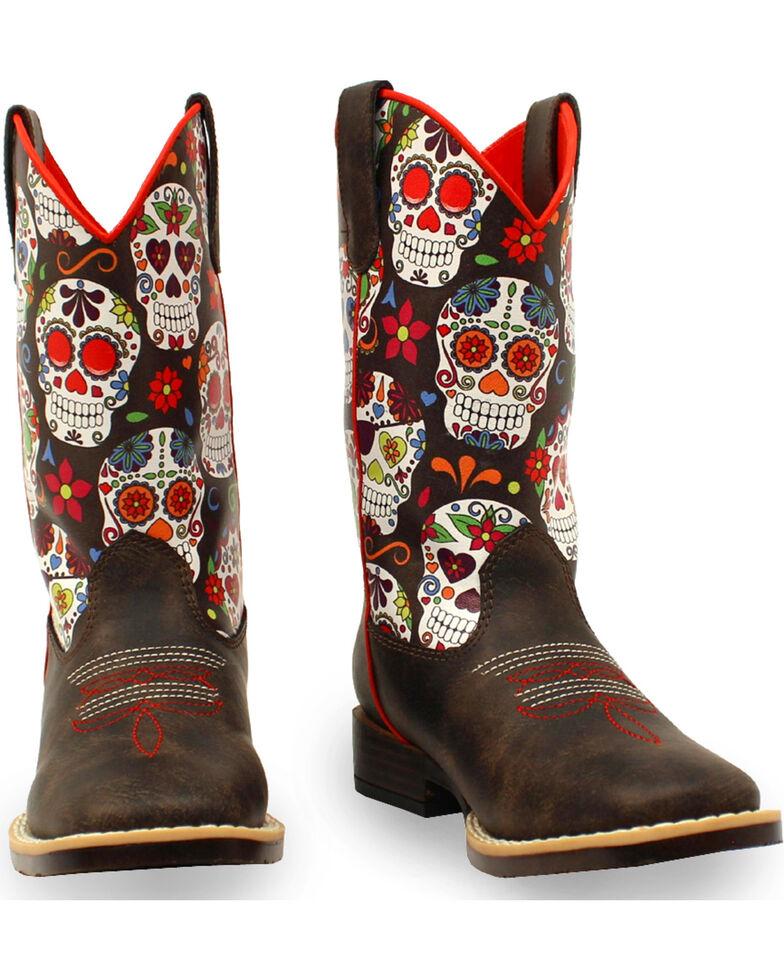 Blazin Roxx Girls' Destiny Skull Boots - Square Toe , Brown, hi-res