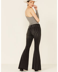 Panhandle Women's Striped Bell Bottom Jeans, Black, hi-res