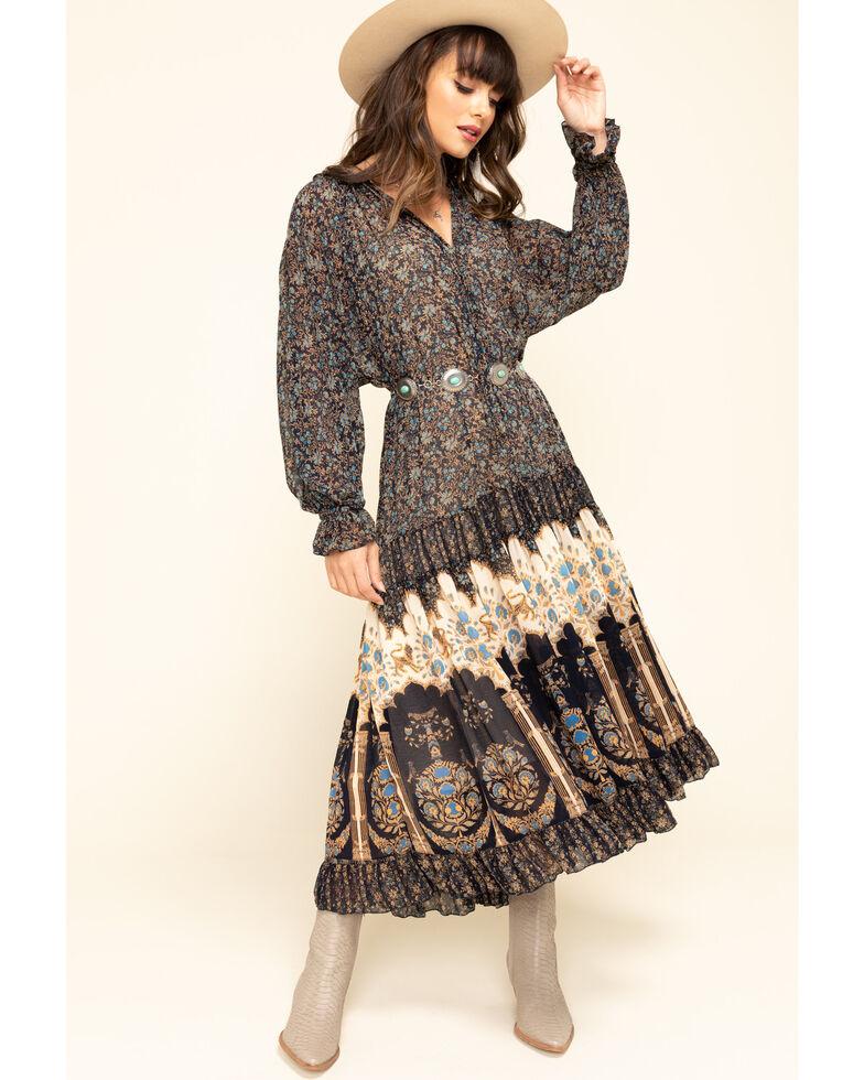Free People Women's Ivory Feeling Groovy Border Maxi Dress , Navy, hi-res