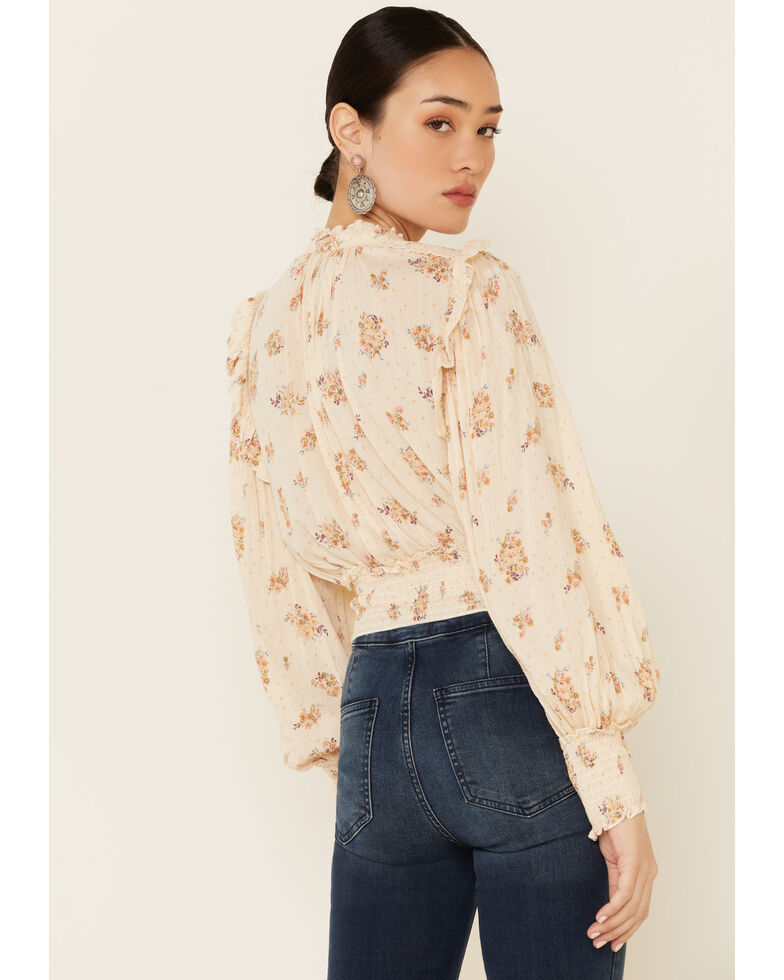 Angie Women's Ivory Floral Smocked Long Sleeve Peasant Top , Ivory, hi-res
