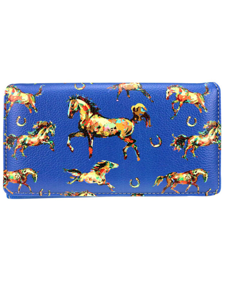 Montana West Women's Navy Horse Collection Secretary Wallet , Navy, hi-res