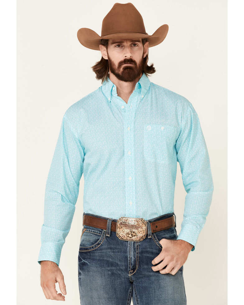 George Strait By Wrangler Men's White Geo Print Long Sleeve Button-Down Western Shirt , White, hi-res
