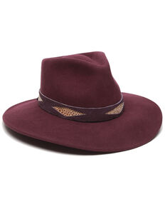 Ale' by Alessandra Women's Faux Cobra Bordeaux Wool Felt Hat , Burgundy, hi-res