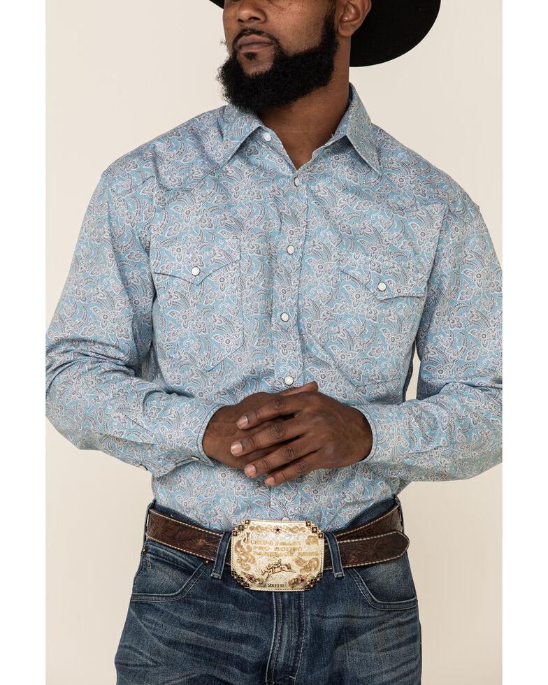 Rough Stock By Panhandle Men's Montague Vintage Floral Print Long Sleeve Snap Western Shirt, Light Blue, hi-res