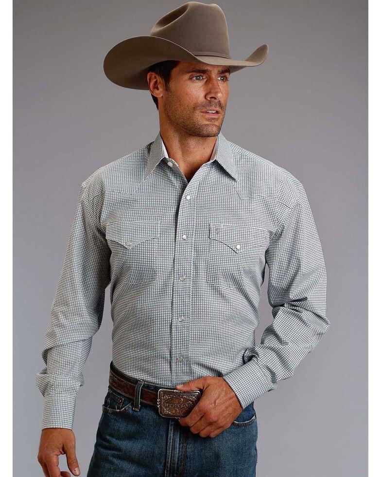 Stetson Men's Blue Geo Print Long Sleeve Western Shirt , Blue, hi-res