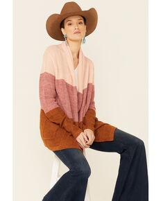 Rock & Roll Denim Women's Rust & Pink Color-Block Stripe Cardigan , Pink, hi-res