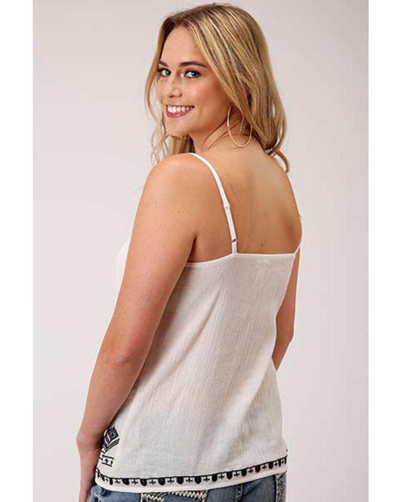 Five Star Women's White Cotton Crepe Embroidered Trim Cami , White, hi-res