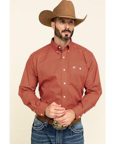 Ariat Men's Relentless Fierce Stretch Geo Print Long Sleeve Western Shirt , Red, hi-res