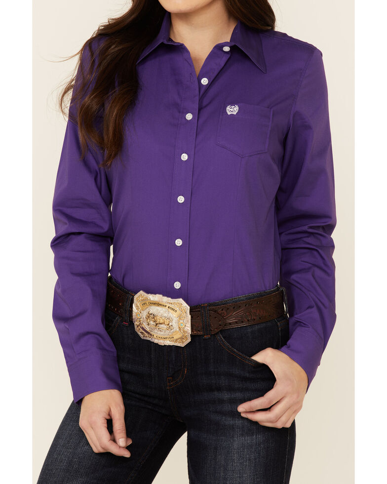 Cinch Women's Solid Purple Long Sleeve Button-Down Western Core Shirt , Purple, hi-res