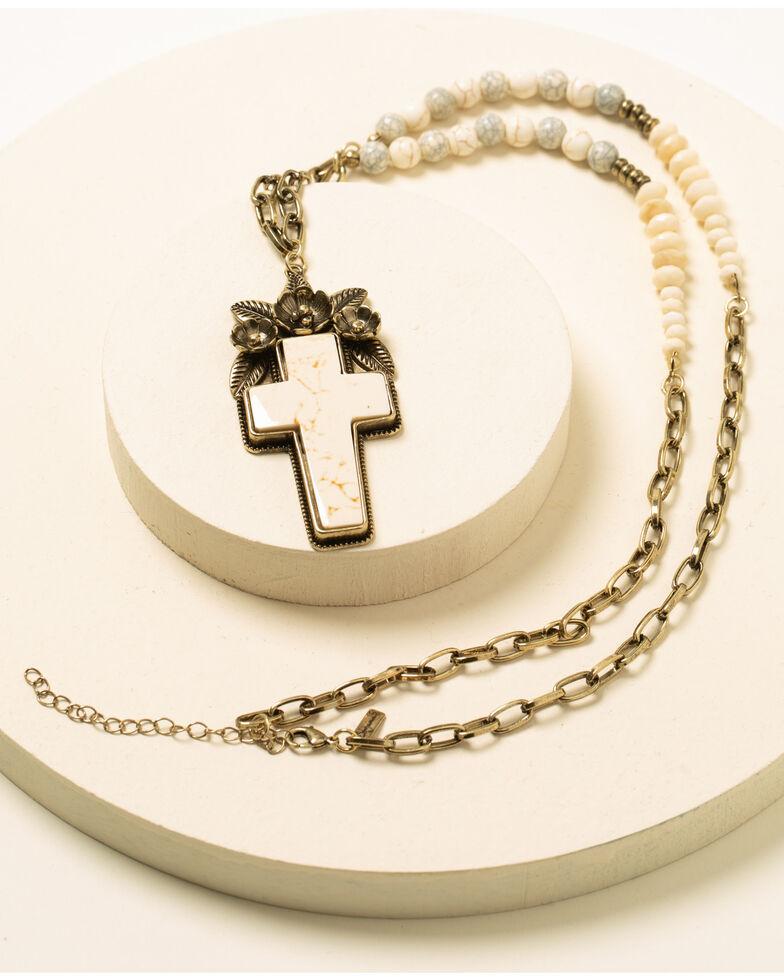 Shyanne Women's Cross Pendant Necklace, Bronze, hi-res