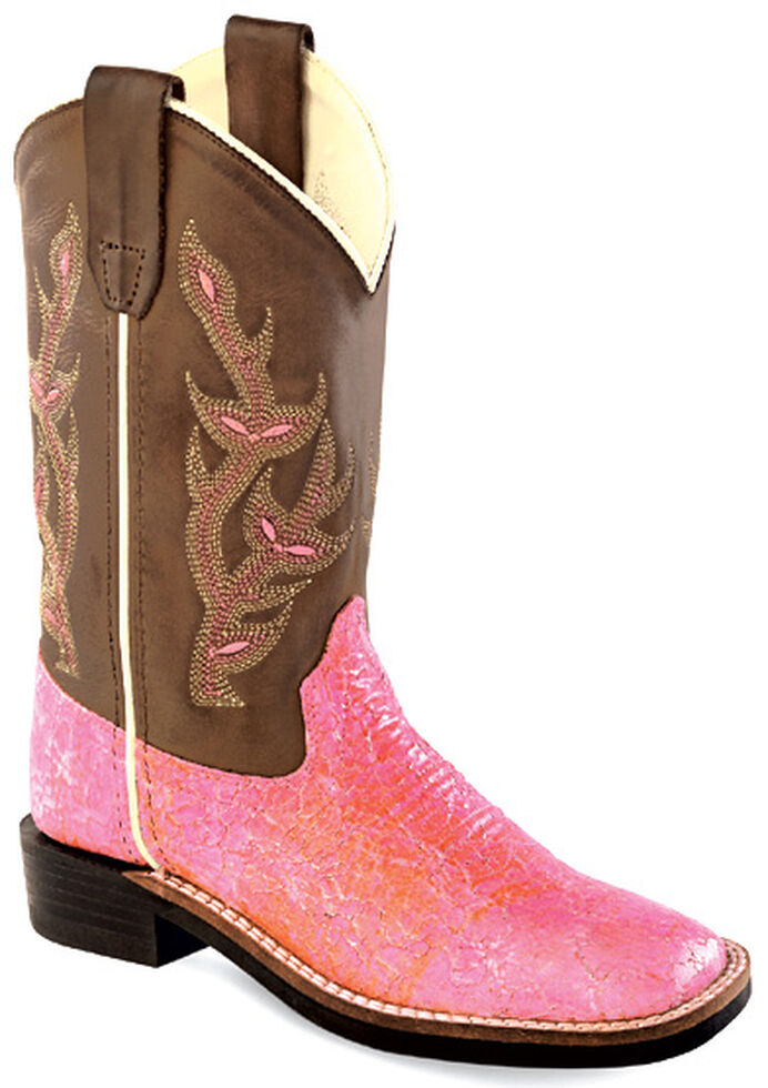 cbf94802892 Old West Youth Girls' Sparkling Pink Western Boots - Square Toe