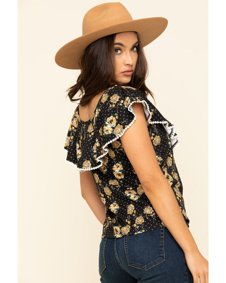 Rock & Roll Cowgirl Women's Floral Dot Ruffle Off The Shoulder Top, Black, hi-res
