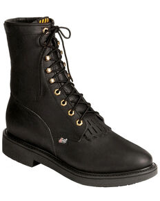 "Justin Men's Conductor 8"" Lace-Up Work Boots - Soft Toe, Black, hi-res"
