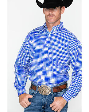 George Strait by Wrangler Men's Print Long Sleeve Western Shirt , Blue/white, hi-res