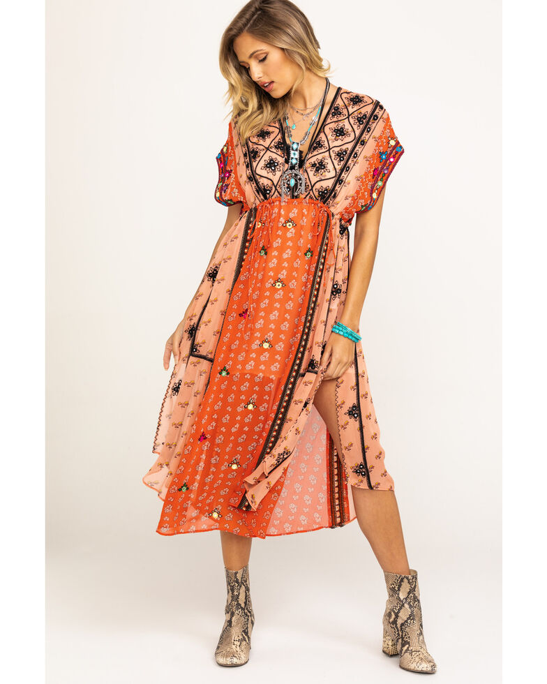 Free People Women's Mix Print Smiling Sun Embroidered Tunic, Red, hi-res