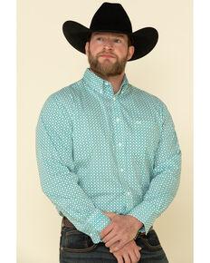 Wrangler 20X Men's Competition Ocean Small Geo Print Long Sleeve Western Shirt , Blue, hi-res