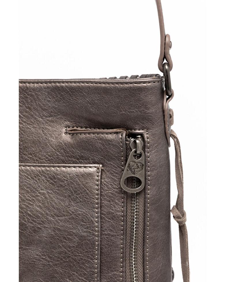 Shyanne Women's Grey Glitter Inlay Crossbody Bag, Medium Grey, hi-res