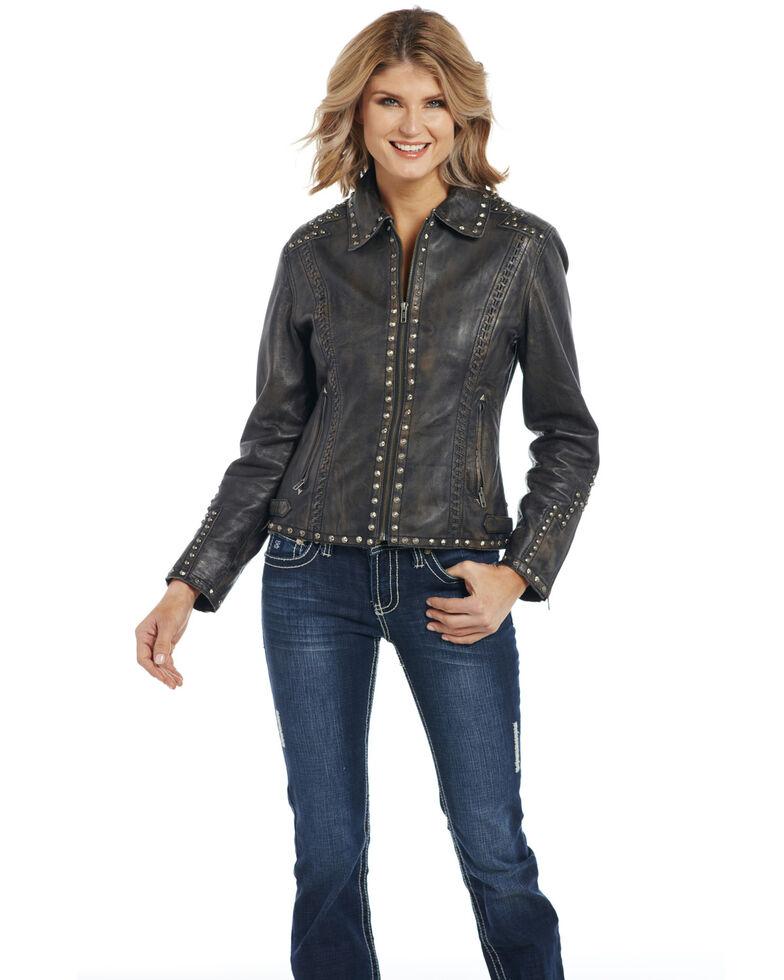 Cripple Creek Women's Studded & Hand Laced Lamb Nappa Zip Front Jacket , Black, hi-res