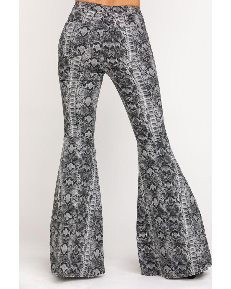 Free People Women's Snake Print Just Float On Flare Pants, Grey, hi-res