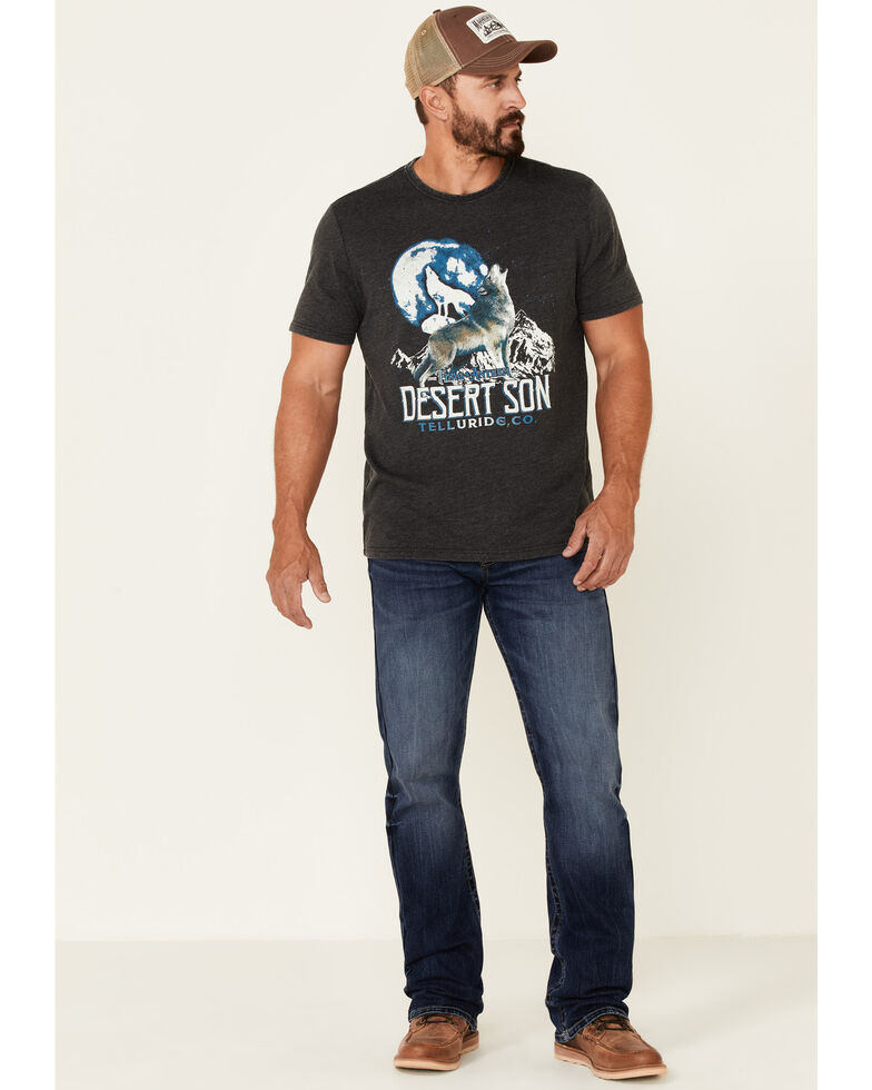 Flag & Anthem Men's Charcoal Burnout Howling Wolf Graphic Short Sleeve T-Shirt , Charcoal, hi-res