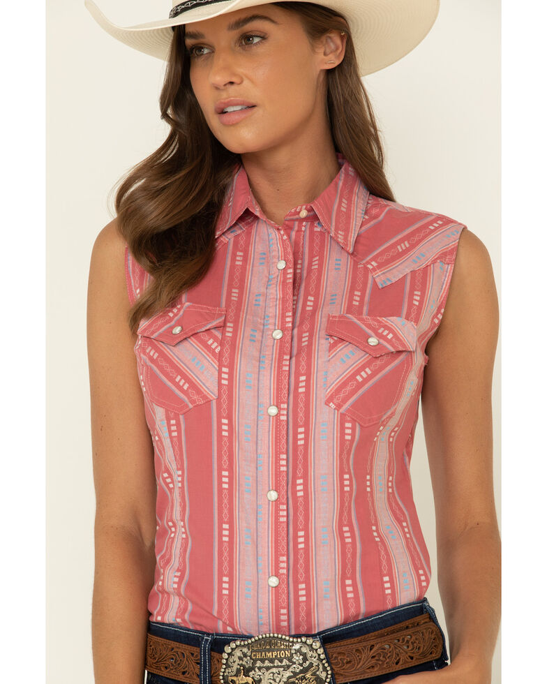 Wrangler Women's Red Plaid Snap Sleeveless Western Shirt, Red, hi-res
