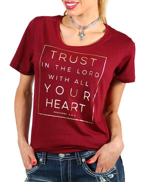 Grace & Truth Women's Burgundy Trust In The Lord Tee , Burgundy, hi-res
