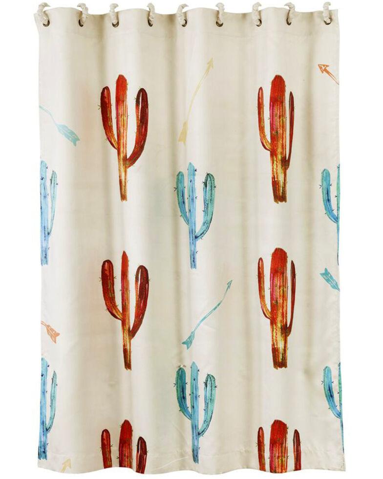 HiEnd Accents Cream Printed Cactus Shower Curtain , Cream, hi-res