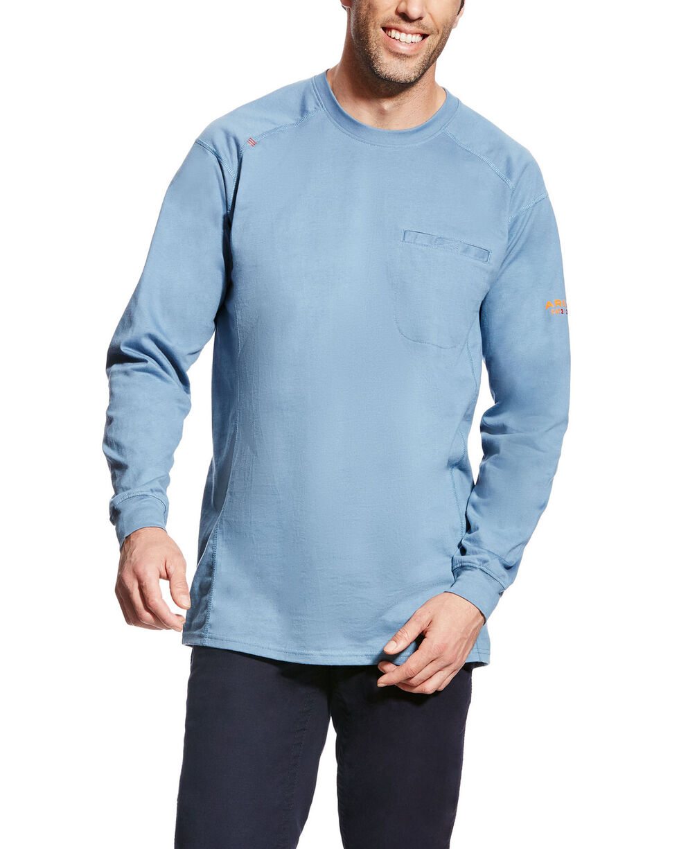 Ariat Men's FR Air Crew Long Sleeve Work Shirt - Tall , Blue, hi-res