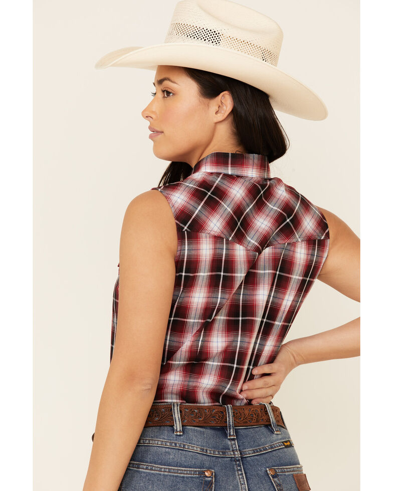 Ely Walker Women's Burgundy Plaid Sleeveless Snap Western Core Shirt , Burgundy, hi-res