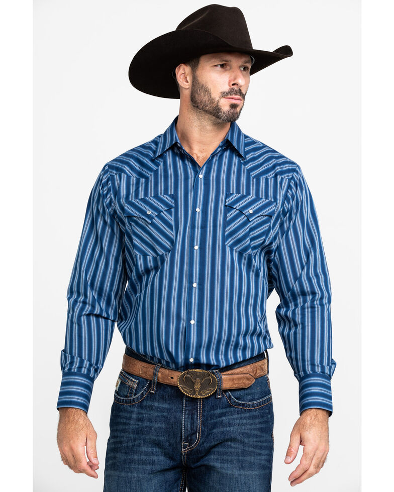 Ely Cattleman Men's Dark Tonal Stripe Long Sleeve Western Shirt , Multi, hi-res