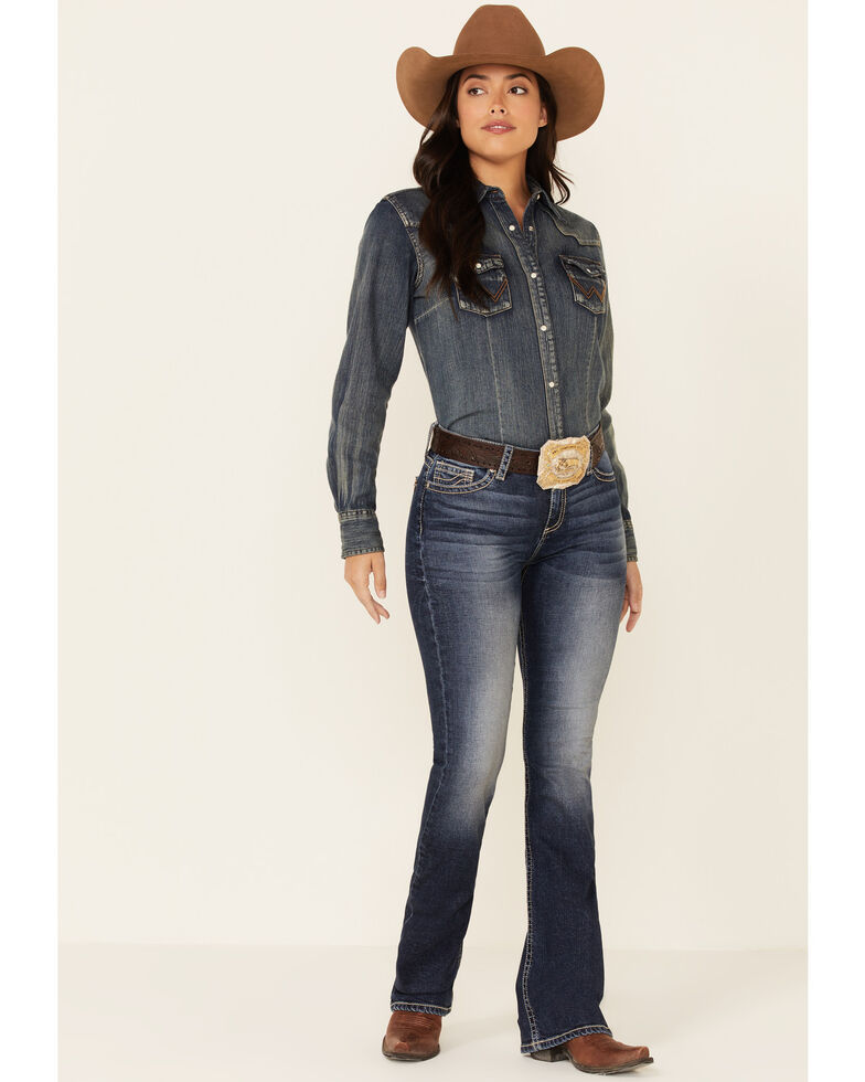 Sailey Women's Thick Stitch Bootcut Jeans, Blue, hi-res