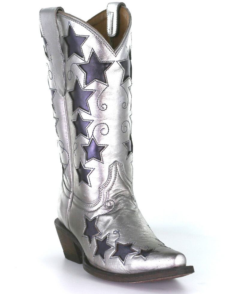 Corral Girls' Silver Embroidery Western Boots - Square Toe, Blue/silver, hi-res