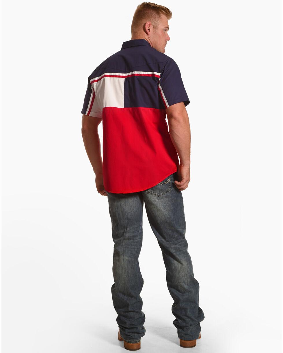 Ely Cattleman Men's Patriotic Stripe Short Sleeve Snap Shirt, Red, hi-res
