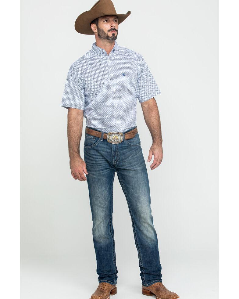 Ariat Men's Gibsonton Geo Print Short Sleeve Western Shirt - Tall , White, hi-res