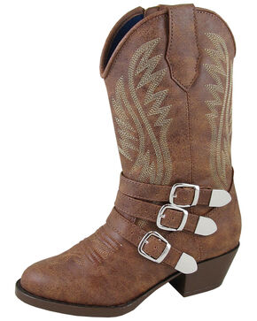Smoky Mountain Girls' Buckle-Up Western Boots - Round Toe, Distressed Brown, hi-res