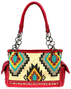 Montana West Women's Red Aztec Satchel Bag, Red, hi-res
