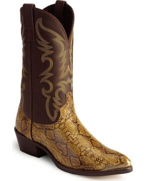 Laredo Python Print Cowboy Boots - Pointed Toe, Brown, hi-res