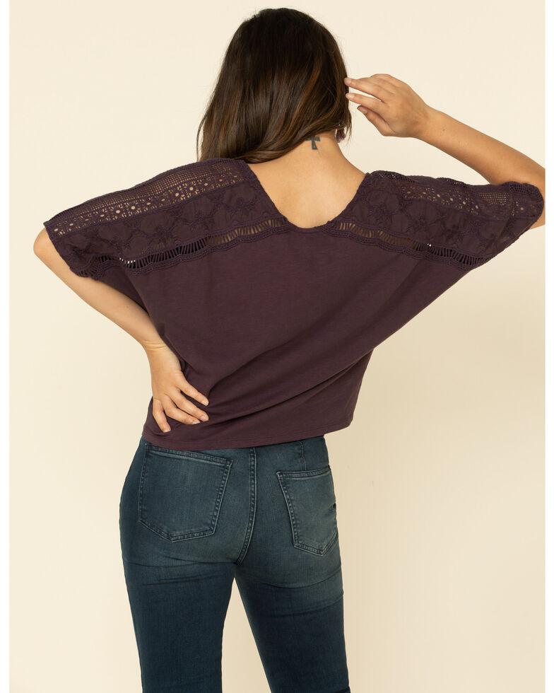 Shyanne Women's Crochet Shoulder Tie Front Tee , Grape, hi-res