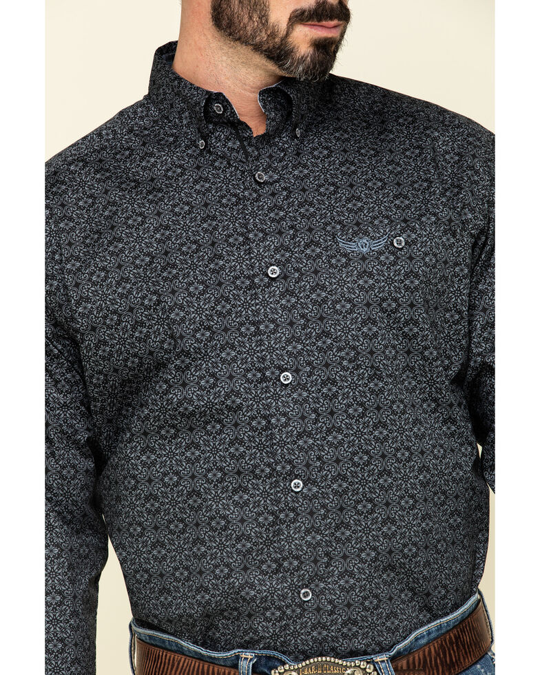 Ariat Men's Relentless Lionheart Stretch Floral Print Long Sleeve Western Shirt , Black, hi-res