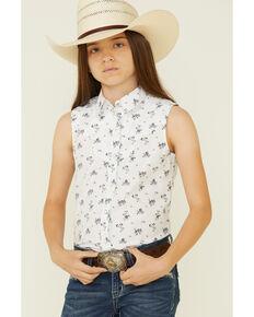Rock & Roll Denim Girl's White Floral Print Sleeveless Snap Western Shirt , White, hi-res