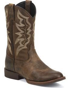 Justin Men's Buster Stampede Cowboy Boots - Round Toe, Brown, hi-res
