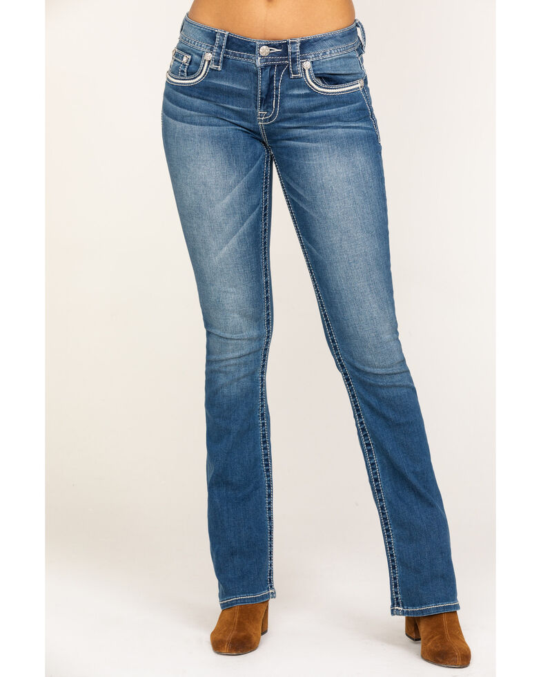 "Miss Me Women's Medium Mid Wing 34"" Bootcut Jeans, Blue, hi-res"