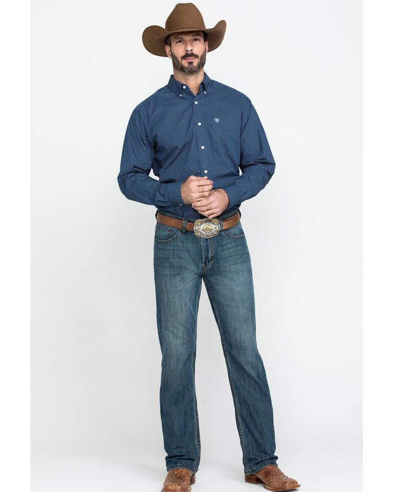 Ariat Men's Wrinkle Free Pismo Geo Print Long Sleeve Western Shirt - Tall , Black, hi-res