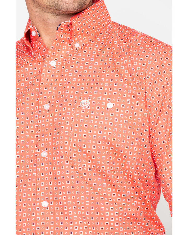 George Strait by Wrangler Men's Coral Geo Print Short Sleeve Shirt , Coral, hi-res